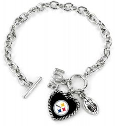 STEELERS LOVE FOOTBALL BRACELET