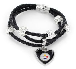 STEELERS (BLACK) BRAIDED CORDS BRACELET (OC)