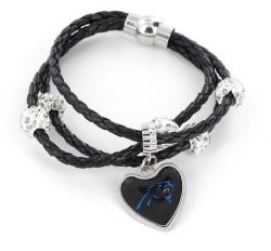 PANTHERS (BLACK) BRAIDED CORDS BRACELET  (OC)