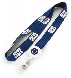 COLTS BADGE REEL WITH (BLUE) LANYARD