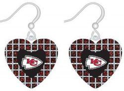 CHIEFS (RED) GLITTER STONE HEART EARRINGS (OC)