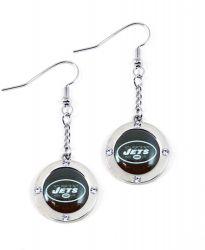 JETS ROUND CRYSTAL DANGLER EARRINGS (FJ-1023)