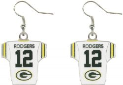 PACKERS (RODGERS) PLAYER JERSEY EARRINGS