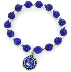 RANGERS NY (BLUE) PEBBLE BEAD STRETCH BRACELET