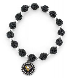 PENGUINS (BLACK) PEBBLE BEAD STRETCH BRACELET