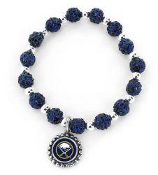 SABRES (NAVY BLUE) PEBBLE BEAD STRETCH BRACELET