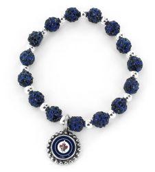 JETS (NAVY BLUE) PEBBLE BEAD STRETCH BRACELET