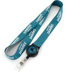 SHARKS BADGE REEL WITH (TEAL) LANYARD