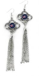 BLUE JACKETS CHARMED TASSEL EARRINGS