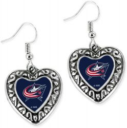 BLUE JACKETS HEART EARRINGS