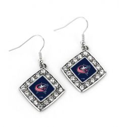 BLUE JACKETS CRYSTAL DIAMOND EARRINGS
