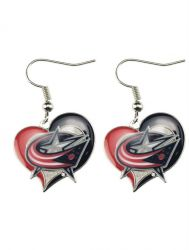 BLUE JACKETS SWIRL HEART EARRINGS
