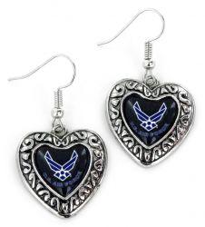 US AIR FORCE CHARMED HEART EARRINGS