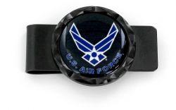 US AIR FORCE BLACK DIAMOND CUT MONEY CLIP