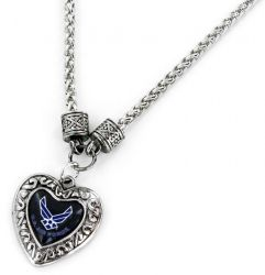 US AIR FORCE CHARMED HEART NECKLACE