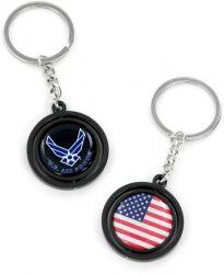 US AIR FORCE BLACK SPINNING KEYTAG