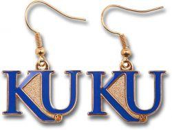 "KANSAS UNIVERSITY ""KU"" DANGLER EARRINGS"