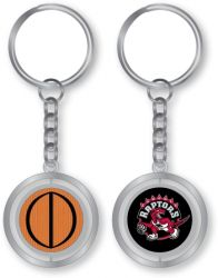 RAPTORS RUBBER BASKETBALL SPINNING KEYCHAIN (KT-251)